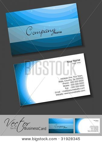 Professional business card set, template or visiting card. Artistic, abstract corporate look in blue color, EPS 10 Vector illustration.