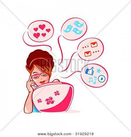 Cheerful young girl into social media networks