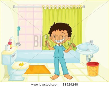 Child in bathroom illustration image