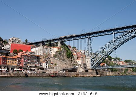 Ribeira Of Porto And Dom Luis Bridge.