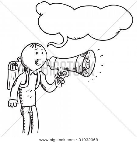 Pupil speaking something in to megaphone