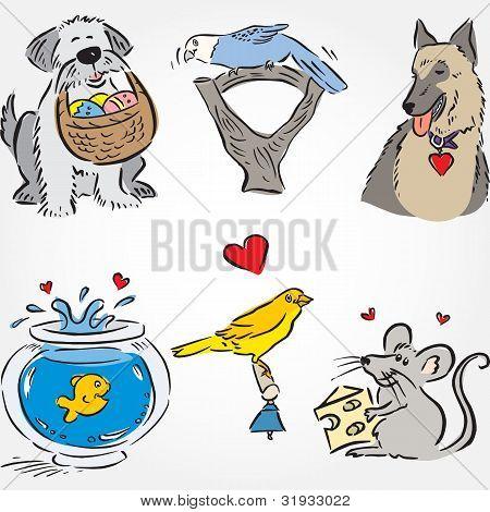 gezeichneten Tiere Satz