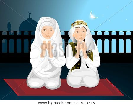 Muslim kids ( girl and boy ) reading namaj ( Islamic prayer ) and mosque on night background. EPS 10. vector illustration.