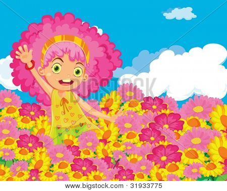 Illustration of girl in colourful garden