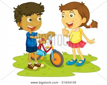 Illustration of children outdoors with bike