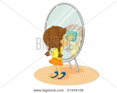Illustration of a child cleaning