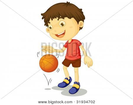 Illustration of a child playing basketball