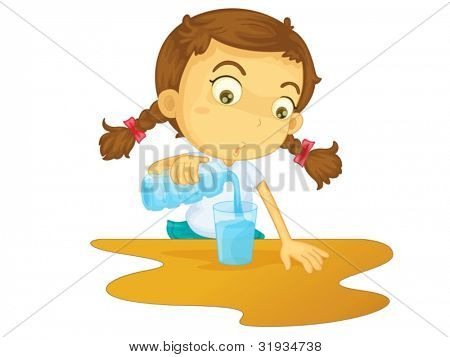 Illustration of girl pouring water