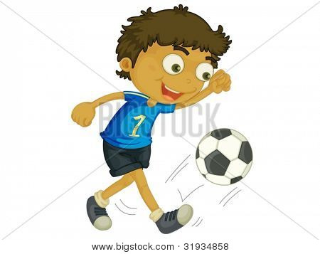 Illustration of a child playing football