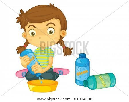 Child illustration on a white background