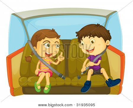 cartoon of kids in a car