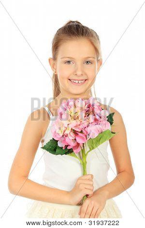 Porträt eines niedlichen 7 Jahre alten Mädchens. Isolated over white Background.