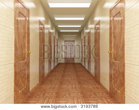 Corridor With A Number Of Doors
