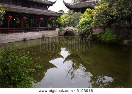 Red Lanterns Pond Reflection Wuhou Three Kingdoms Chengdu Sichuan China