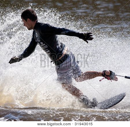 MELBOURNE, AUSTRALIA - MARCH 12:  Aliaksei Zharnasek of Belarus in the trick event at the Moomba Masters on March 12, 2012 in Melbourne, Australia