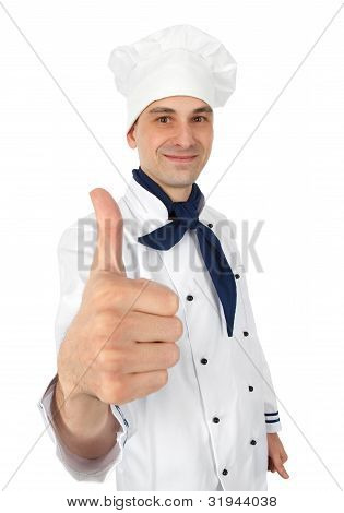 Happy Chef With Thumbs Up Isolated On White