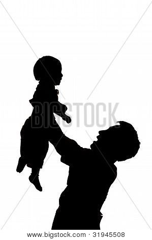 Father Hold And Kiss Baby With Love On White Background