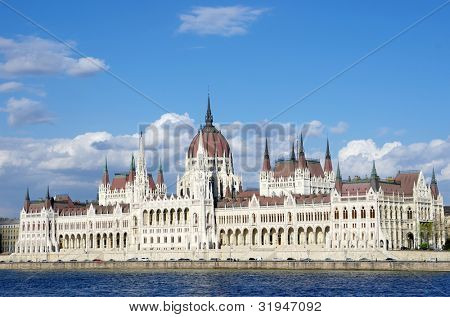 Budapest: the Hungarian Parliament Building was built in neo-Gothic and the main facade faces the River Danube