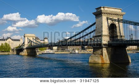 Budapest, the Chain Bridge is a suspension bridge on the River Danube, the first permanent bridge between Buda and Pest