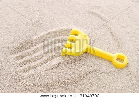 Sand Rake Making Fun Lines In Sand