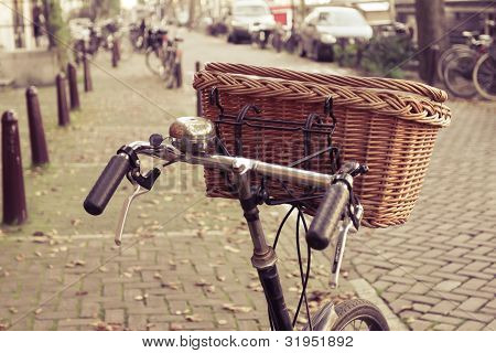 Wicker basket on a bicycle
