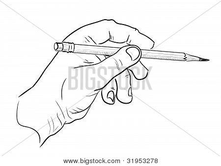 Mans hand with pencil.