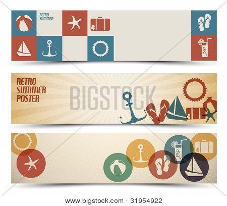 Sistema de banners horizontales de verano retro - con lugar para el texto