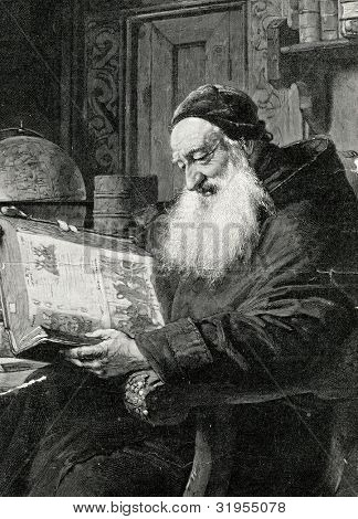 An old book. Engraving by Kirmze from picture by Gryutsner. Published in magazine