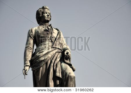 The Statue Of Wolfgang Amadeus Mozart In Salzburg, Austria