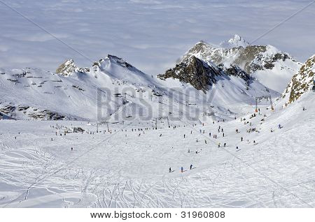 Slopes in Kitzsteinhorn ski resort near Kaprun, Austrian Alps