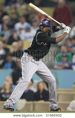 LOS ANGELES - SEPT 17: Rockies CF (24) Dexter Fowler during the Rockies vs. Dodgers game on Sept 17 2010 at Dodgers Stadium.
