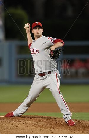 LOS ANGELES - AUG 31: Phillies pitcher (38) Kyle Kendrick pitches during the MLB game on Aug 31 2010 at Dodgers Stadium.