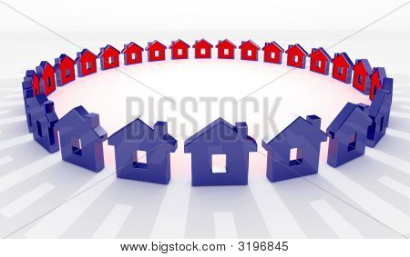 House In Circle Background