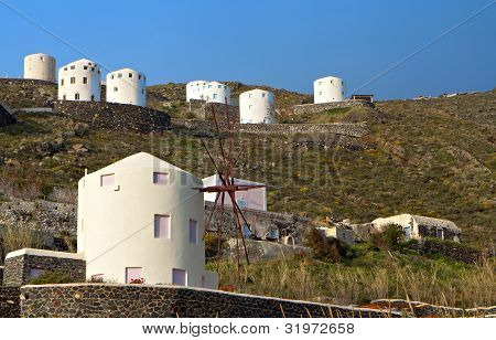 Windmills at Santorini island in Greece