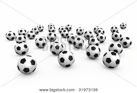 Football balls over white background