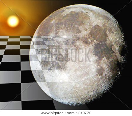 Photo Of Abstract Art Of The Moon And Sun And Checkered Landscap