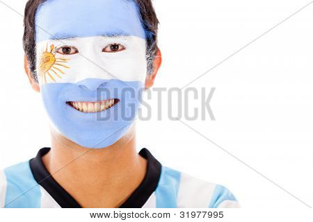 Man with Argentinean flag painted on his face ��� isolated