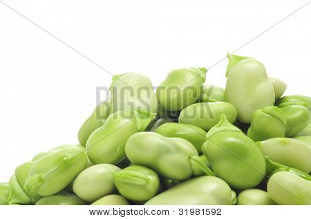 closeup of  a pile of raw broad beans on a white background