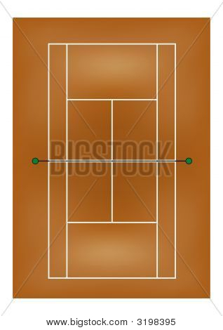 Tennis Court - Clay Surface - Overhead View