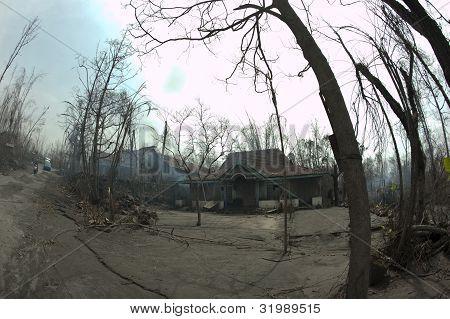 Damage from Mount Merapi Eruption