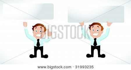 Businessman with Blank Banner