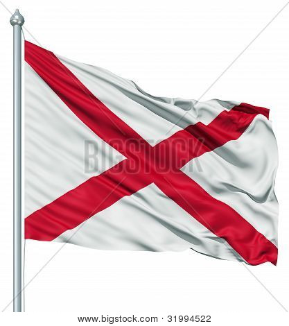 Waving Flag of USA state Alabama