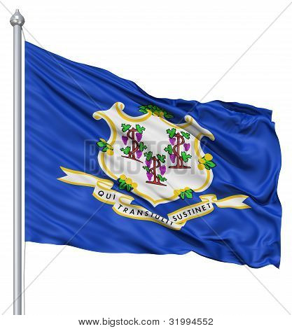 Waving Flag of USA state Connecticut