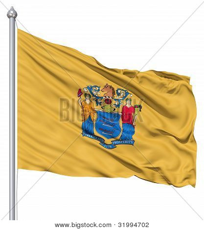 Waving Flag of USA state New Jersey