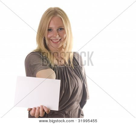 Blonde With Blank Card
