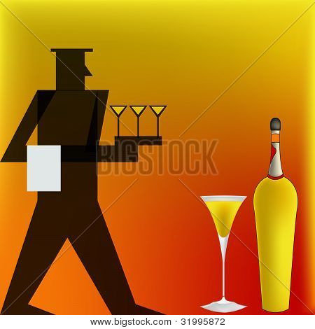 Cocktail Waiter, Deco Style Poster