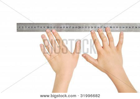 Hands with a ruler