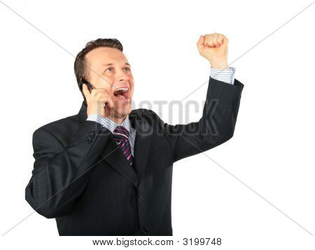 Businessman Expressive Speaks By Cell Phone