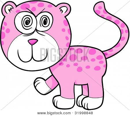 Crazy Insane Leopard Vector Illustration Cartoon Art