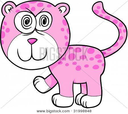 Crazy Insane Leopard Vector Illustration Cartoon Art